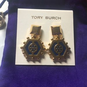Authentic Tory Burch gold blue earrings